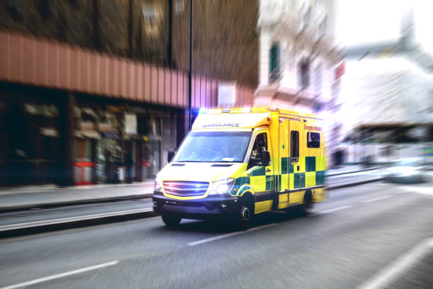Ambulance respond to an Emergency in downtown stock photo