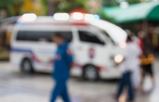 ambulance responding to an emergency call - emergency response stock pictures, royalty-free photos & images