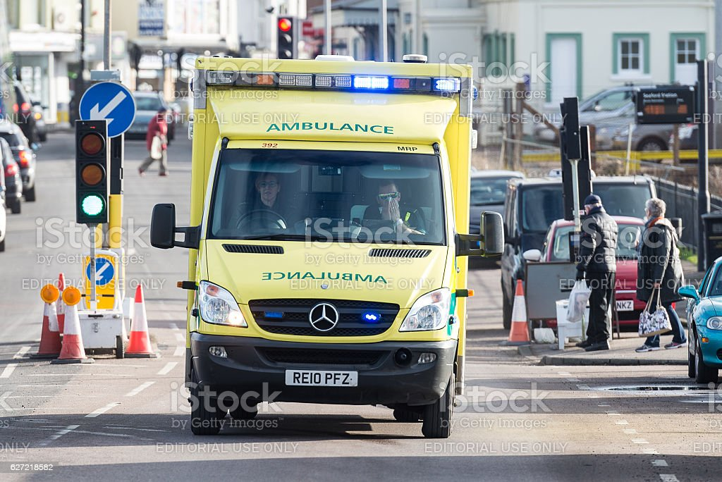 Ambulance responding to an emergency call stock photo