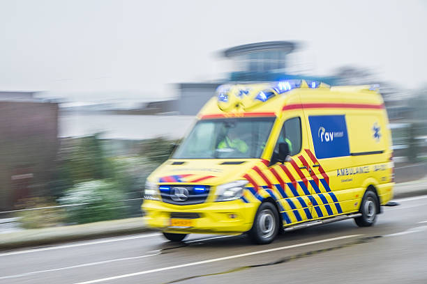 Ambulance rushing to an accident at high speed