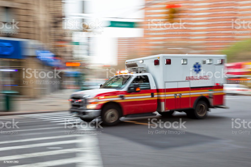 Ambulance Speeding in New York, Blurred Motion stock photo