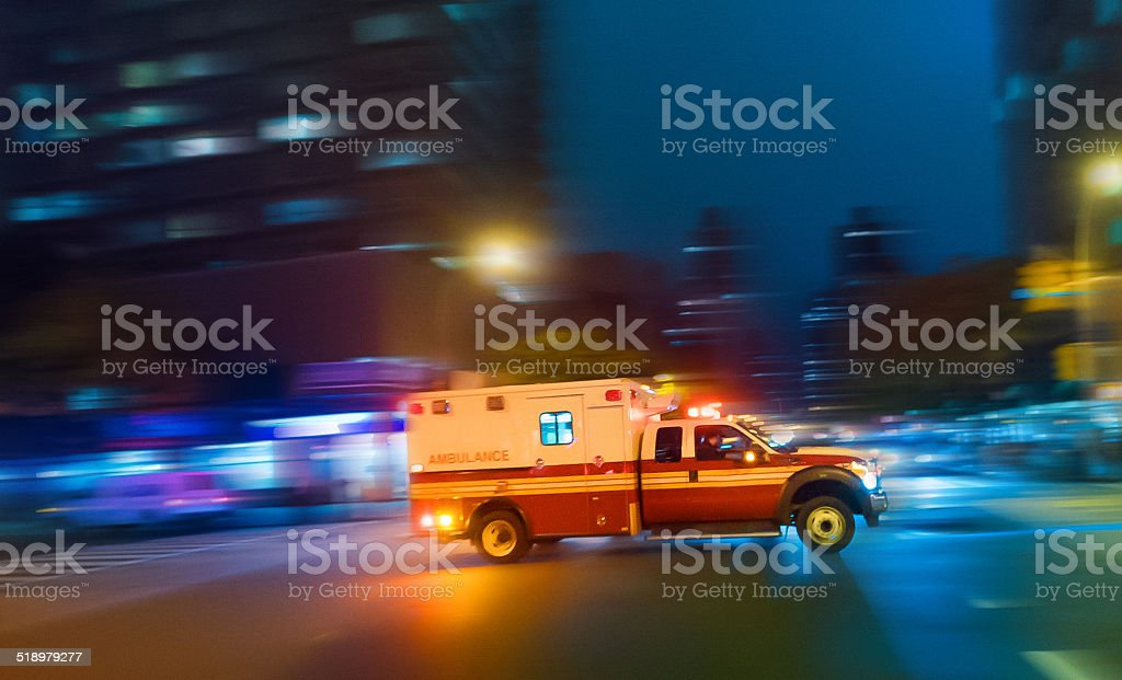 Ambulance speeding in New York stock photo