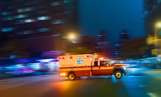 Ambulance speeding in New York stock photo