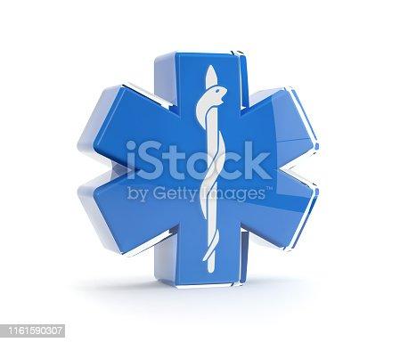 istock Ambulance symbol, blue cross and snake 1161590307