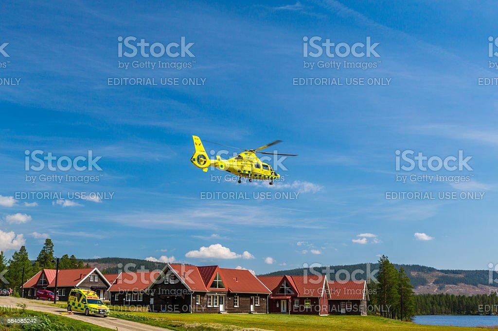 Ambulance vehicle and ambulance helicopter. royalty-free stock photo