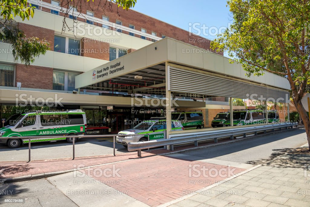 Ambulance vehicles parkes at Emergency Department entrance, Royal Perth Hospital, Perth City, Western Australia stock photo