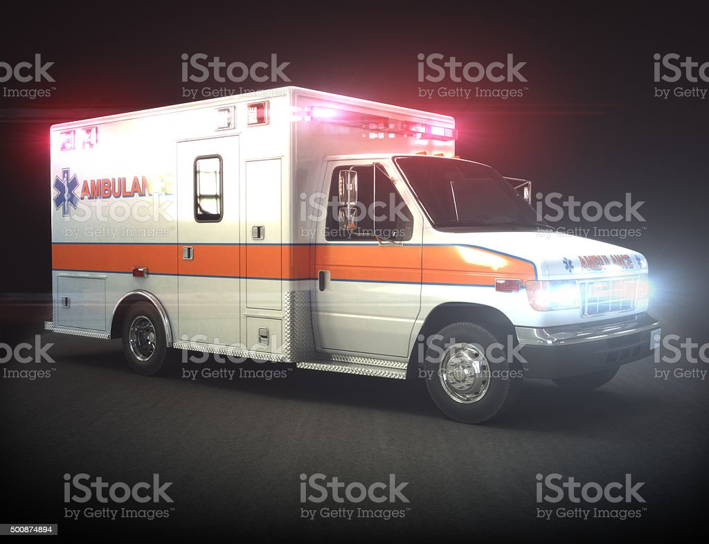 Ambulance with lights ,Part of a first responder series. stock photo
