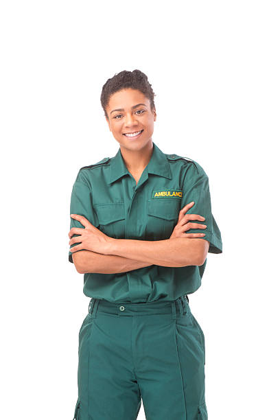ambulance woman happy female ambulance paramedic ambulance staff stock pictures, royalty-free photos & images