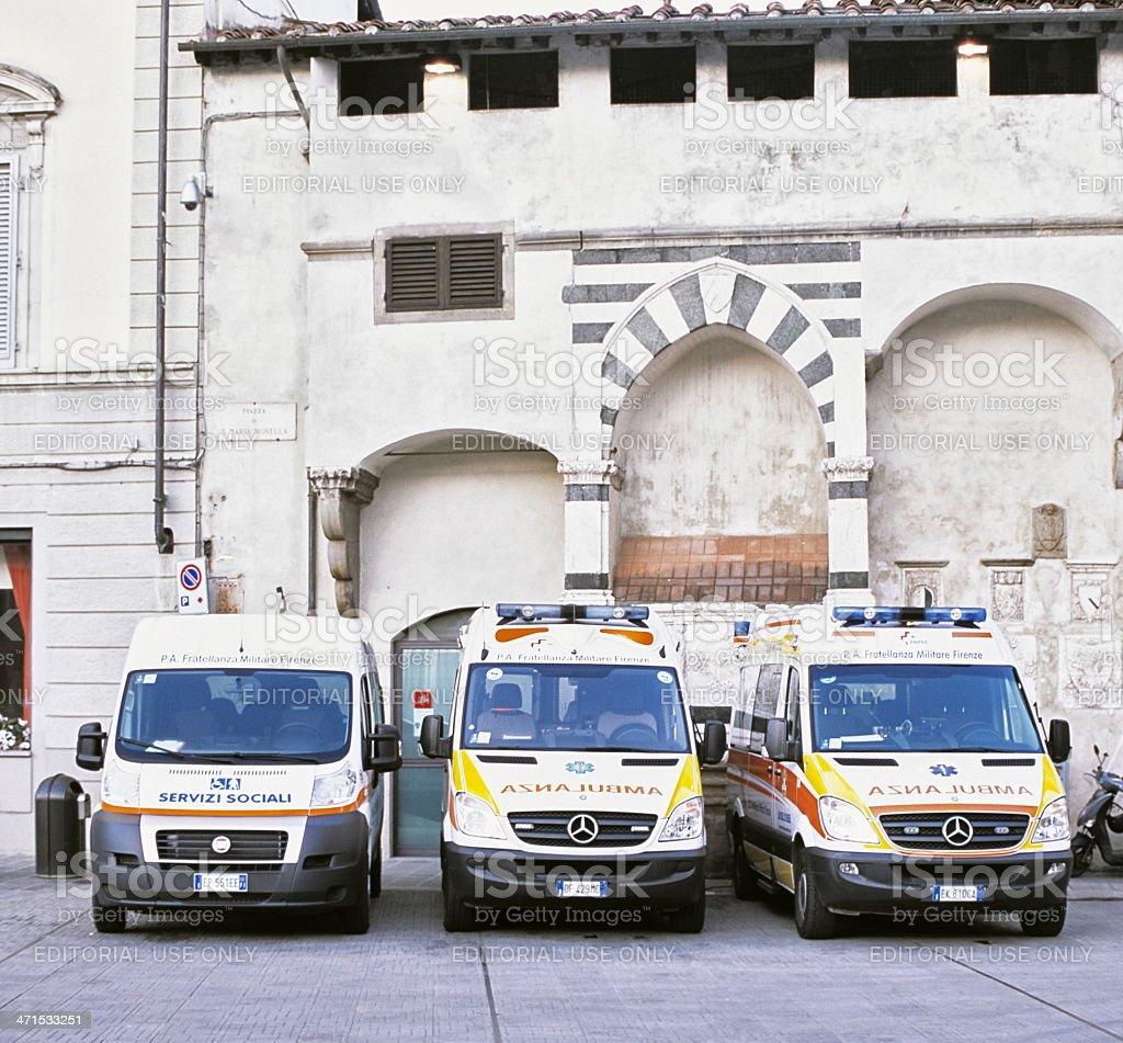 Ambulances in Florenze - Ambulanze a Firenze royalty-free stock photo