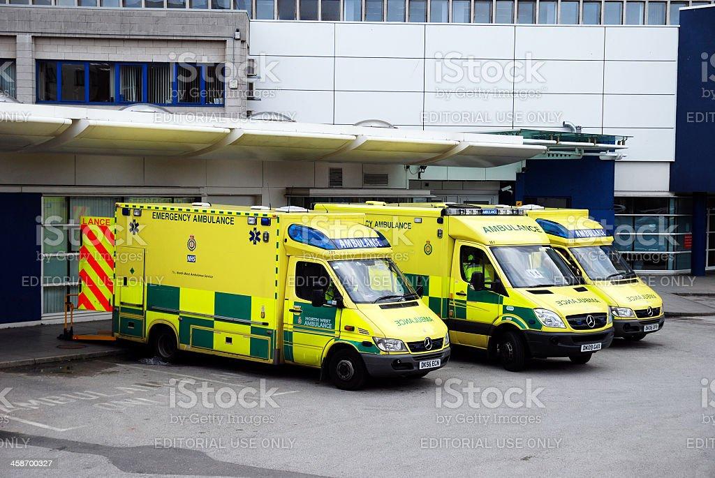 Ambulances parked outside Liverpool Hospital stock photo