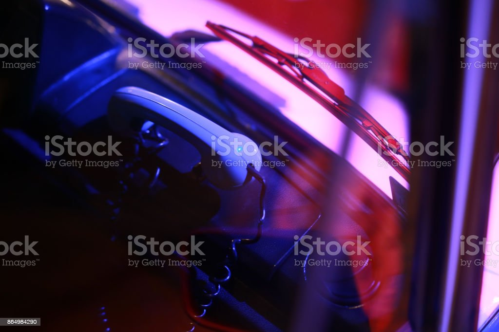 Ambulans interior, Handset stock photo