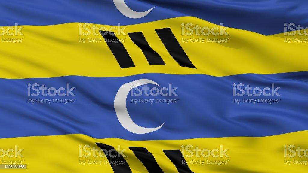 Ameland Stadt Flagge, Niederlande, Nahaufnahme – Foto