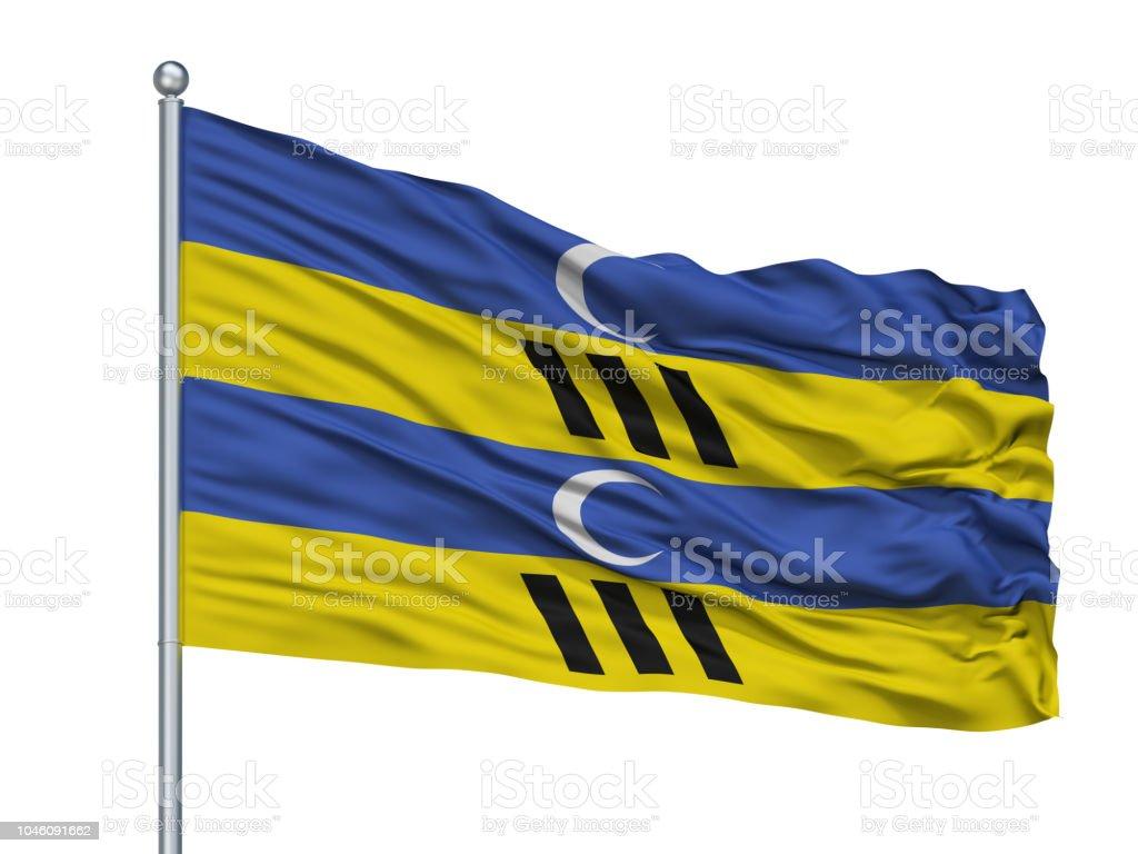 Ameland Flagge am Fahnenmast, Niederlande, Isolated On White Background – Foto
