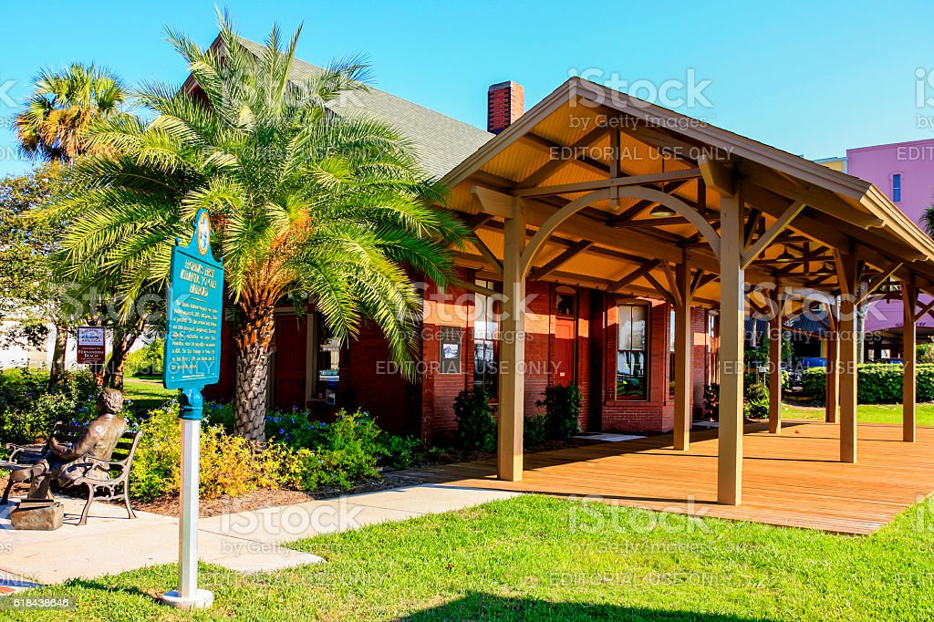 Amelia Island Welcome Center in downtown Fernandina Beach City, Florida stock photo
