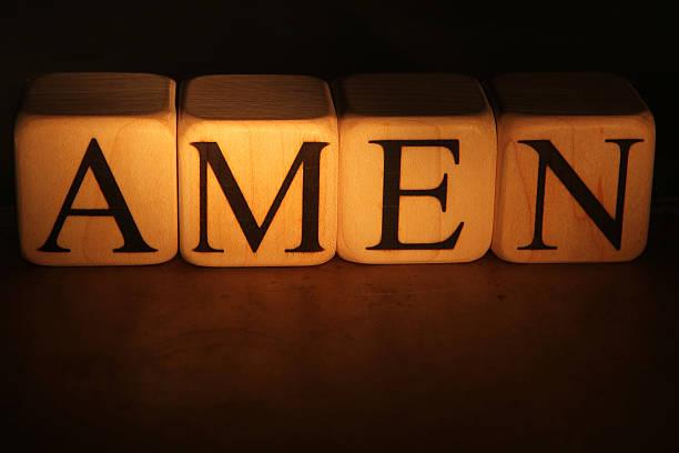 Amen - Building Blocks Building blocks spelling out amen Amen stock pictures, royalty-free photos & images