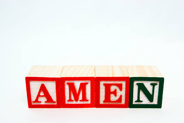 Amen Prayer ending in blocks on white background. Horizontal.-For more Block Talk images, click here.  BLOCK TALK  Amen stock pictures, royalty-free photos & images
