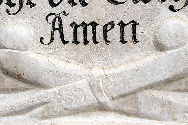 Amen Old German Stone Carving Detail Amen stock pictures, royalty-free photos & images