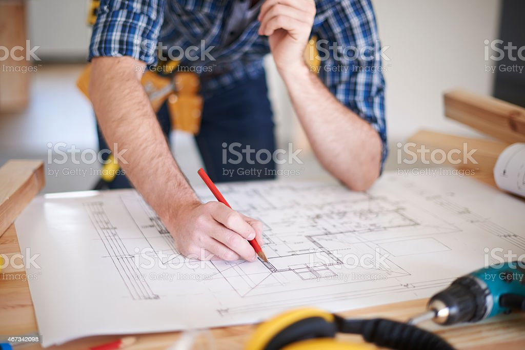 Amendments on blueprint of house stock photo