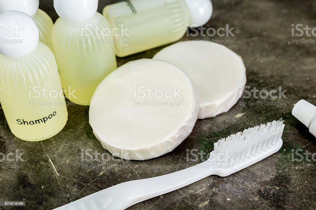 Amenities kit in bathroom stock photo