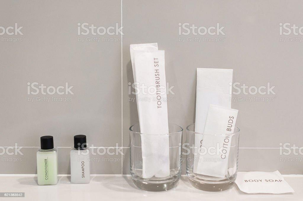 Amenities kit  in bathroom the hotel stock photo