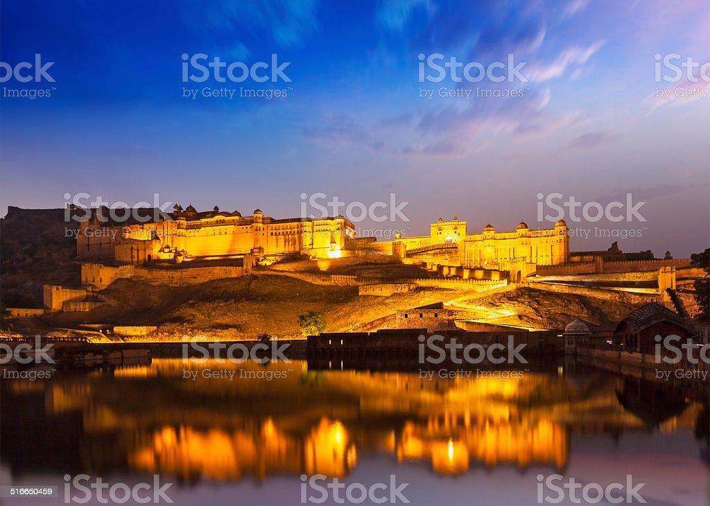 Amer Fort at night in twilight. Jaipur, Rajastan, - Royalty-free Amber Fort Stock Photo