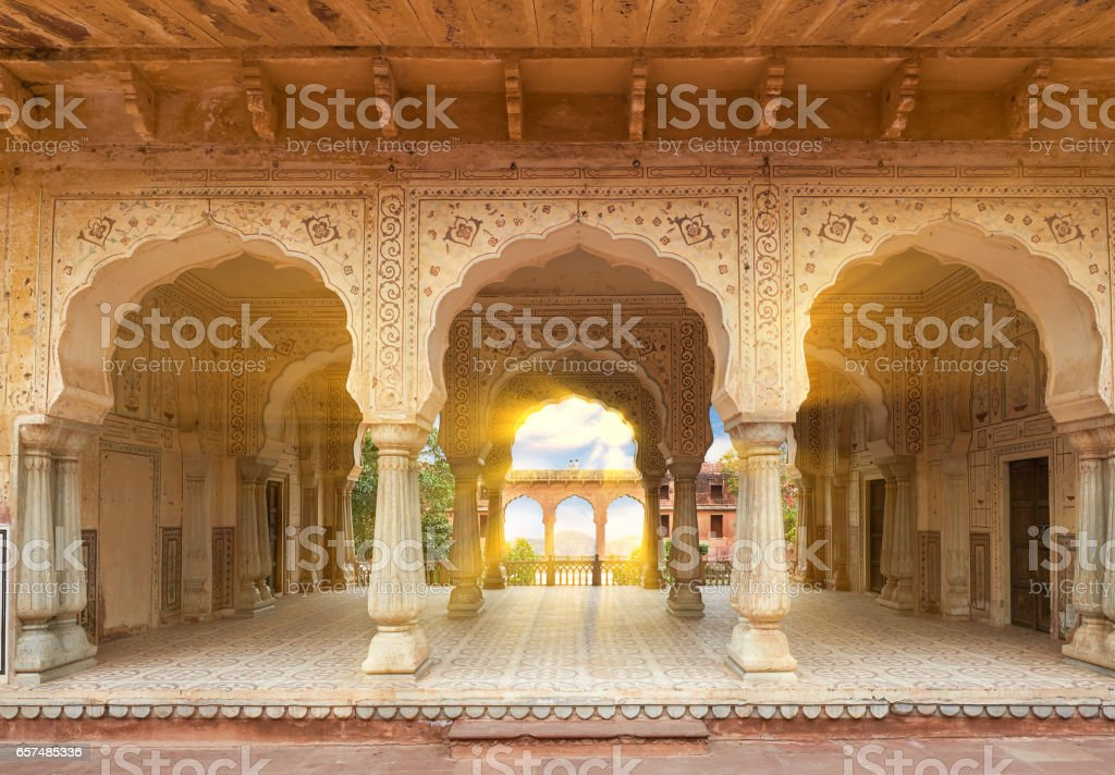Amer Fort  is located in Amer, Rajasthan, India. stock photo