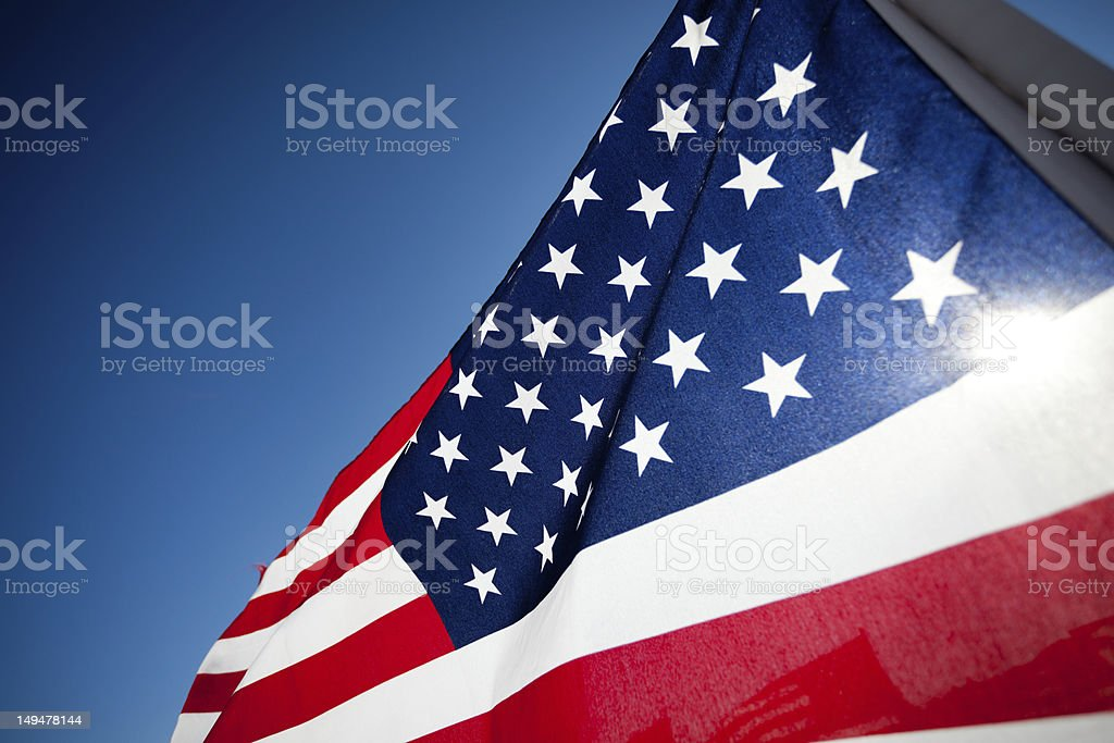 Amereican Flag display commemorating national holiday stock photo