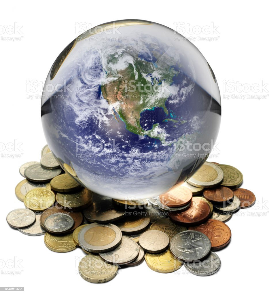 America and World Currency in a Crystal Ball royalty-free stock photo