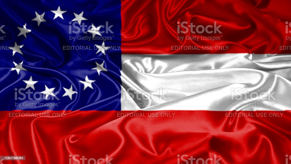 America Confederate states flag on silk satin texture stock photo