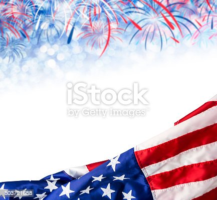 istock America flag and bokeh background with firework and copy space for USA 4 july independence day and other celebration 803721688