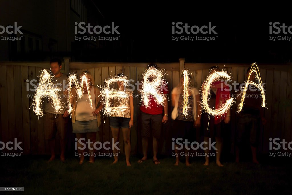 America in sparklers - Independence Day celebration, July 4th stock photo