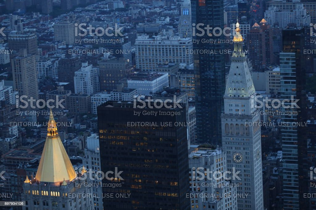 America in the evening. America, New York City - May 13, 2017 stock photo
