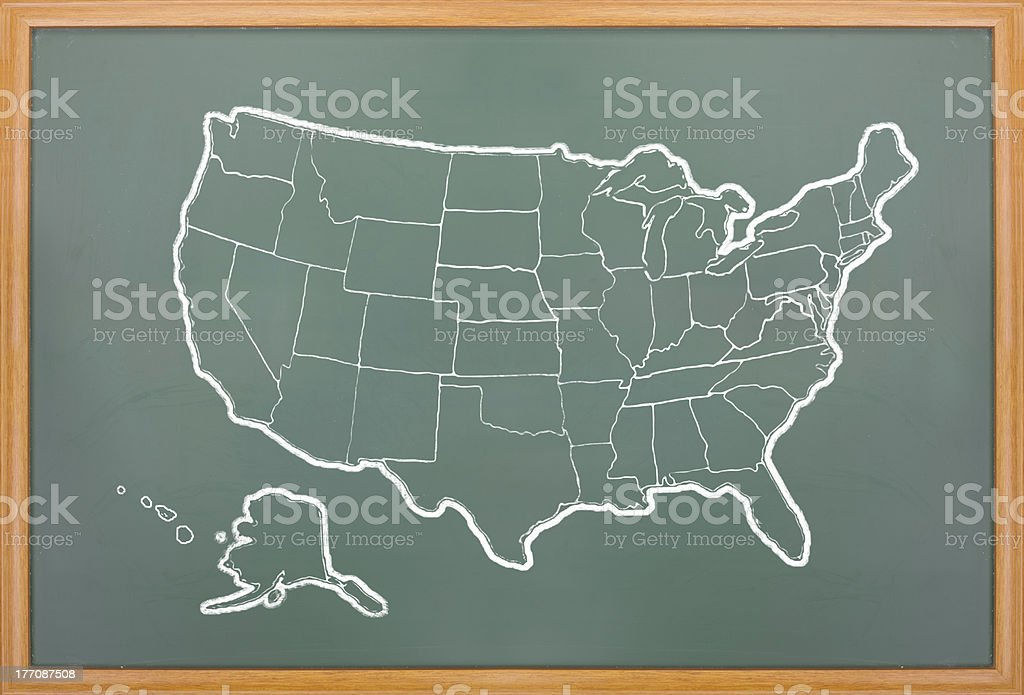 America map draw on grunge blackboard royalty-free stock photo