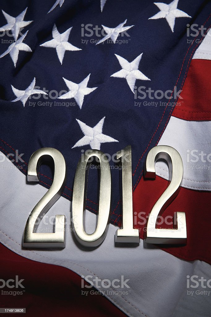 America Presidential Elections 2012 American Flag Silver Year royalty-free stock photo