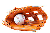America s pastime, sporting equipment and american sports concept with a new generic baseball glove and holding a ball isolated on white background with a clipping path cut out