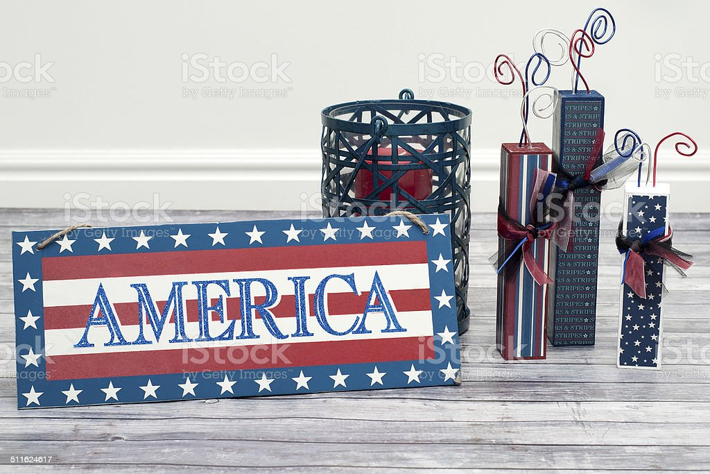 America sign and handmade firework decor stock photo