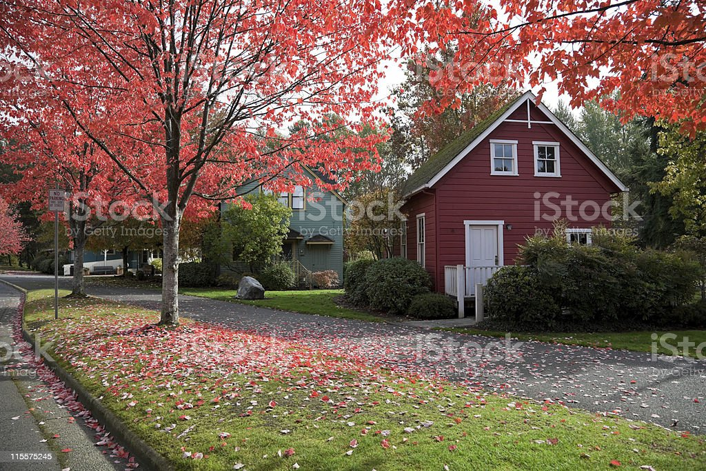America small town in autumn America small town historical site - City of Bothell, Washington state, USA. Autumn Stock Photo