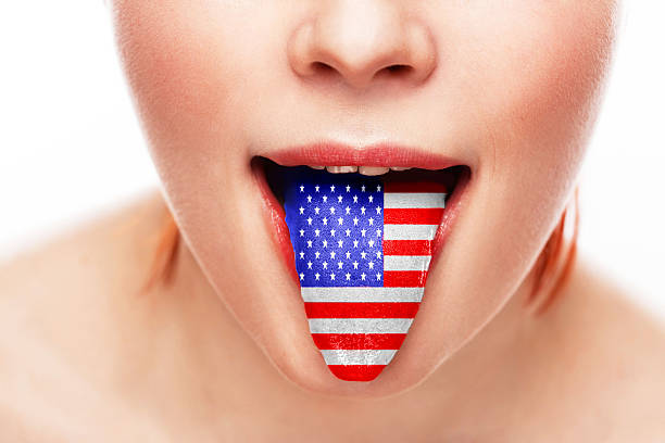 américa língua idioma boca aberta - standing out from the crowd (expressão inglesa) - fotografias e filmes do acervo