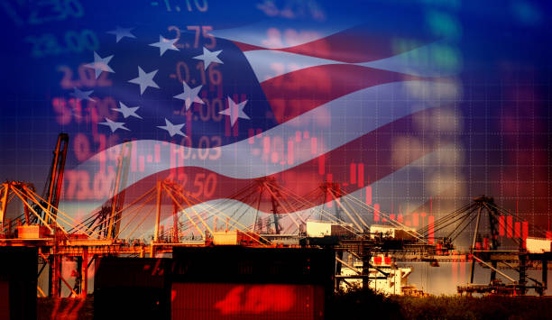 USA America trade war economy conflict tax business finance / united states stock market exchange graph chart money crisis raised taxes on industry USA America trade war economy conflict tax business finance / united states stock market exchange graph chart money crisis raised taxes on industry container ship in export import logistics trade war stock pictures, royalty-free photos & images