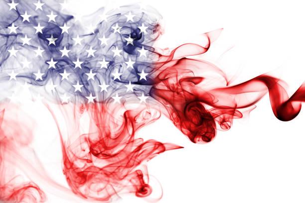 America, usa, national smoke flag stock photo