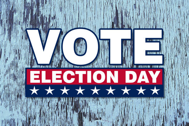 america vote election day graphic with white text and stars red box with faded blue wood announcement background backdrop banner board campaign card illustration invitation poster sign stock photo