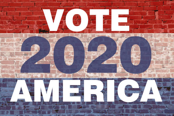 2020 america vote election graphic with red white blue colors text stripes over vintage brick wall announcement background backdrop banner board campaign card illustration invitation poster sign stock photo
