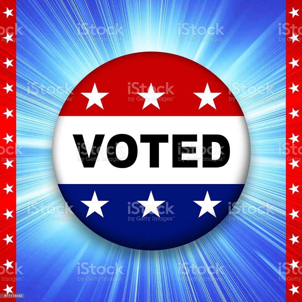 America voting badge illustration on rays of light stock photo