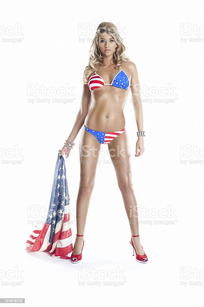 American 4th of July Bikini on Sexy Young Woman, Flag stock photo