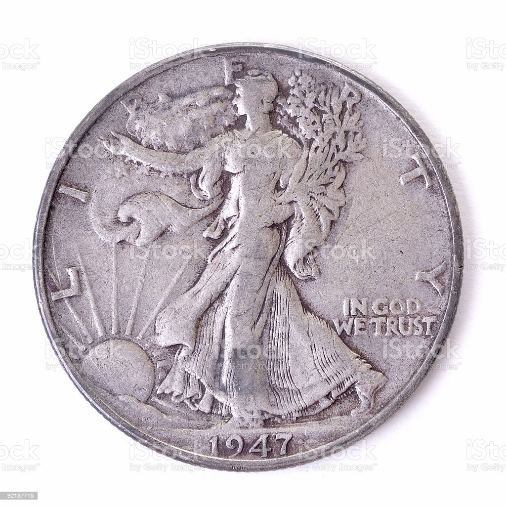American 50 Cent Coin royalty-free stock photo