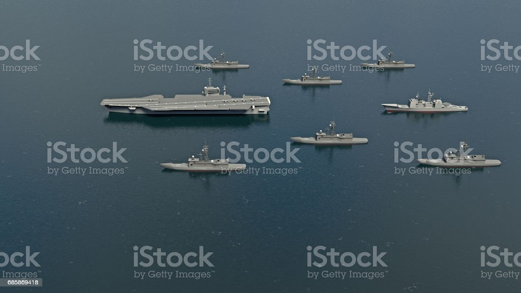American Aircraft Carrier with destroyers and a cruiser in the Pacific Ocean towards North Korea stock photo