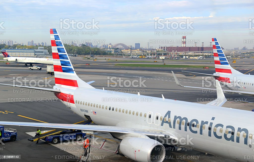 American Airilnes aircraft at Airport Terminal stock photo