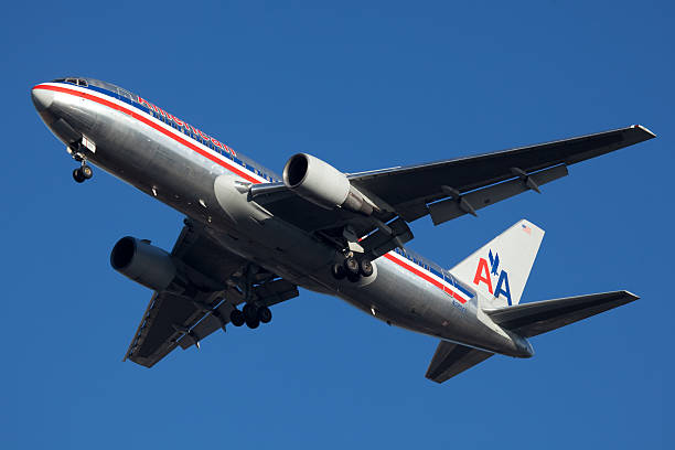 american airline boeing 767 - aviation and environment summit stock photos and pictures