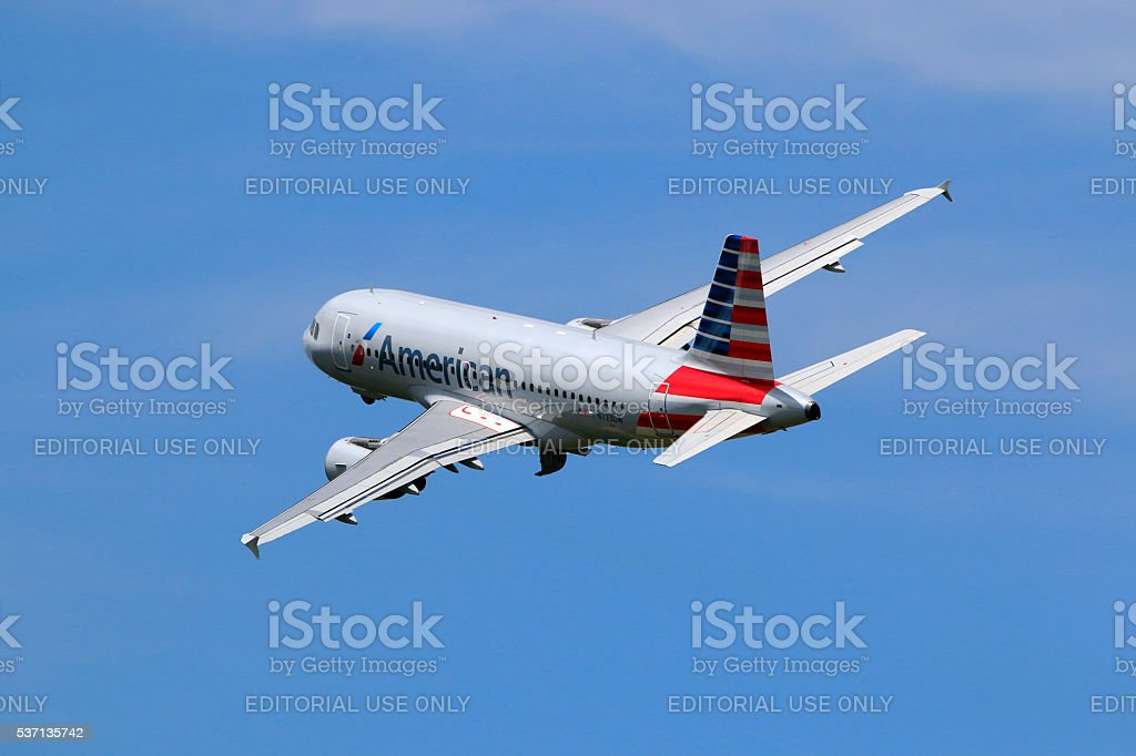American Airlines A319 taking off at Charlotte Douglas International Airport stock photo