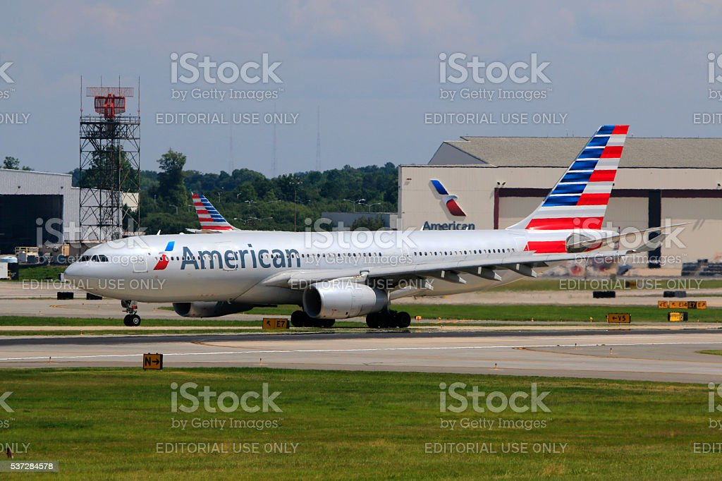 American Airlines A330-200 landed at Charlotte Douglas International Airport stock photo